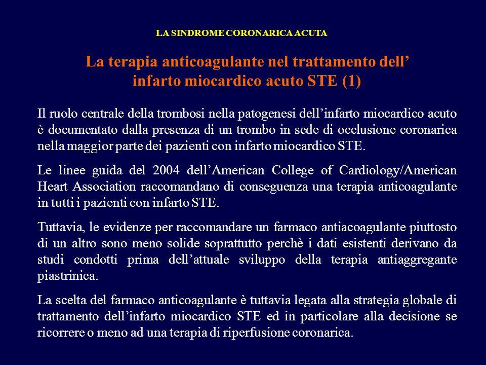 La terapia anticoagulante nel trattamento dell infarto miocardico acuto STE (1) LA SINDROME CORONARICA ACUTA Il ruolo centrale della trombosi nella pa