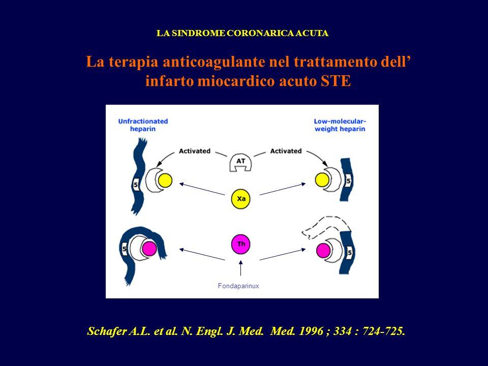 La terapia anticoagulante nel trattamento dell infarto miocardico acuto STE LA SINDROME CORONARICA ACUTA Schafer A.L. et al. N. Engl. J. Med. Med. 199