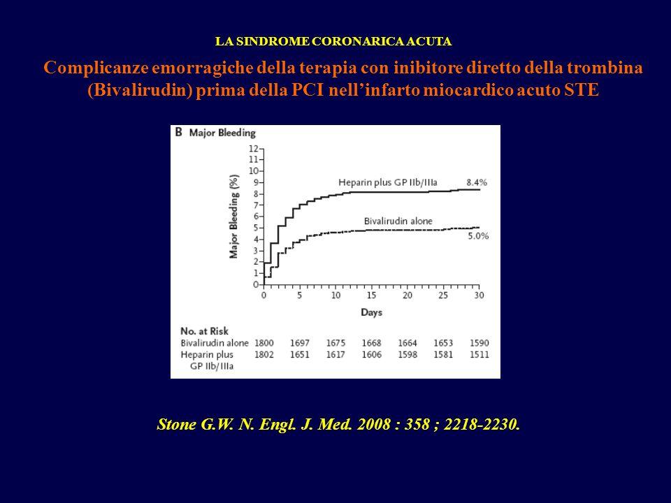LA SINDROME CORONARICA ACUTA Complicanze emorragiche della terapia con inibitore diretto della trombina (Bivalirudin) prima della PCI nellinfarto mioc