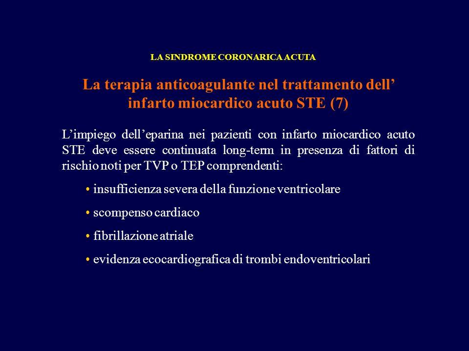 La terapia anticoagulante nel trattamento dell infarto miocardico acuto STE (7) LA SINDROME CORONARICA ACUTA Limpiego delleparina nei pazienti con inf