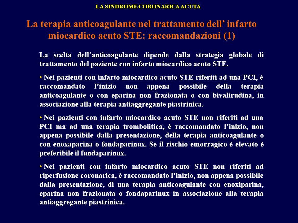 La terapia anticoagulante nel trattamento dell infarto miocardico acuto STE: raccomandazioni (1) LA SINDROME CORONARICA ACUTA La scelta dellanticoagul