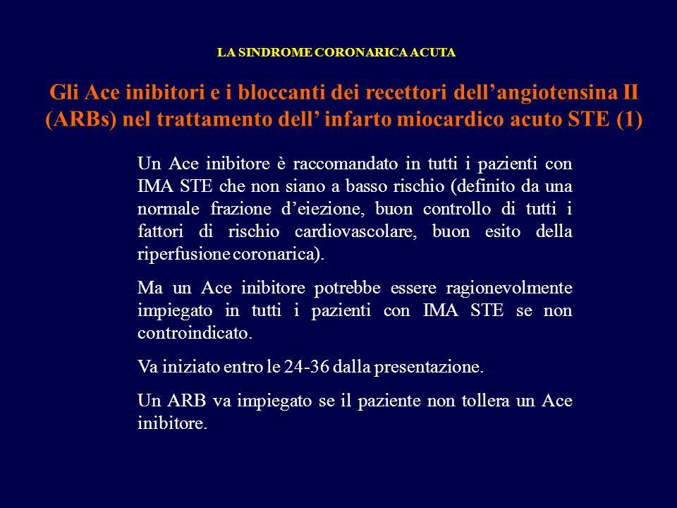 Gli Ace inibitori e i bloccanti dei recettori dellangiotensina II (ARBs) nel trattamento dell infarto miocardico acuto STE (1) LA SINDROME CORONARICA