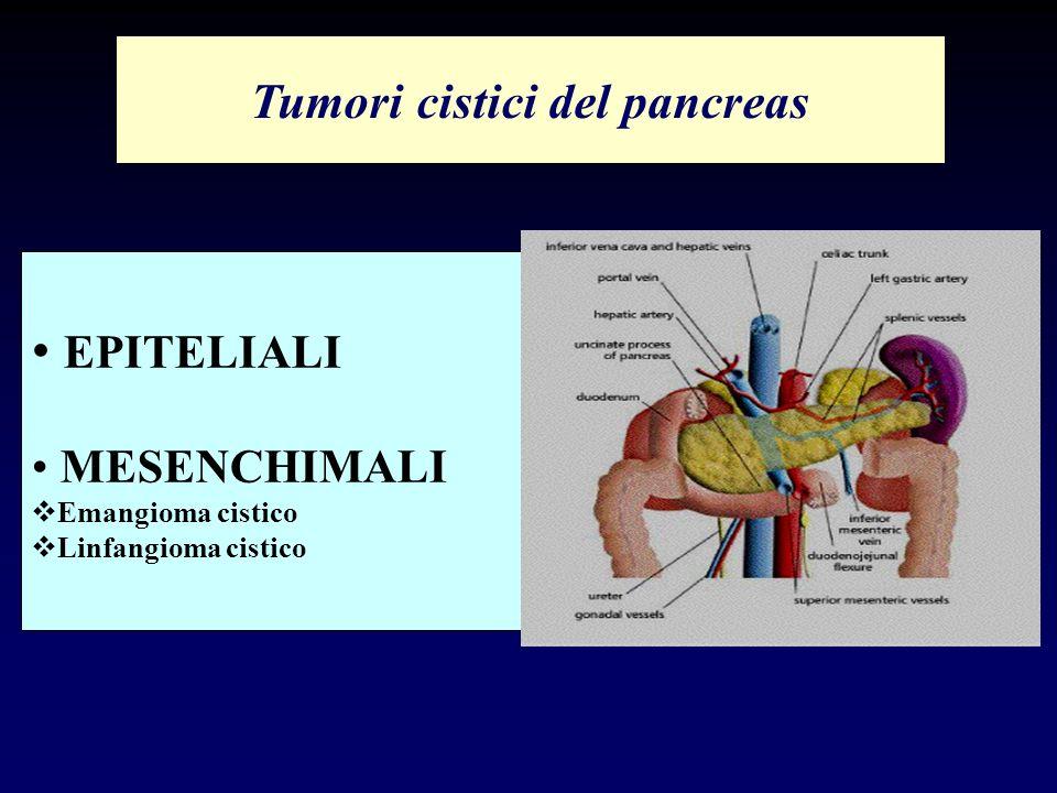 EPITELIALI MESENCHIMALI Emangioma cistico Linfangioma cistico Tumori cistici del pancreas