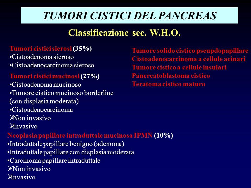 TUMORI CISTICI DEL PANCREAS Classificazione sec. W.H.O. Tumori cistici sierosi (35%) Cistoadenoma sieroso Cistoadenocarcinoma sieroso Tumori cistici m