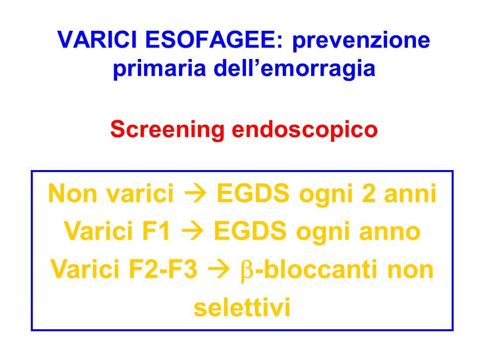 VARICI ESOFAGEE: prevenzione primaria dellemorragia Non varici EGDS ogni 2 anni Varici F1 EGDS ogni anno Varici F2-F3 -bloccanti non selettivi Screeni