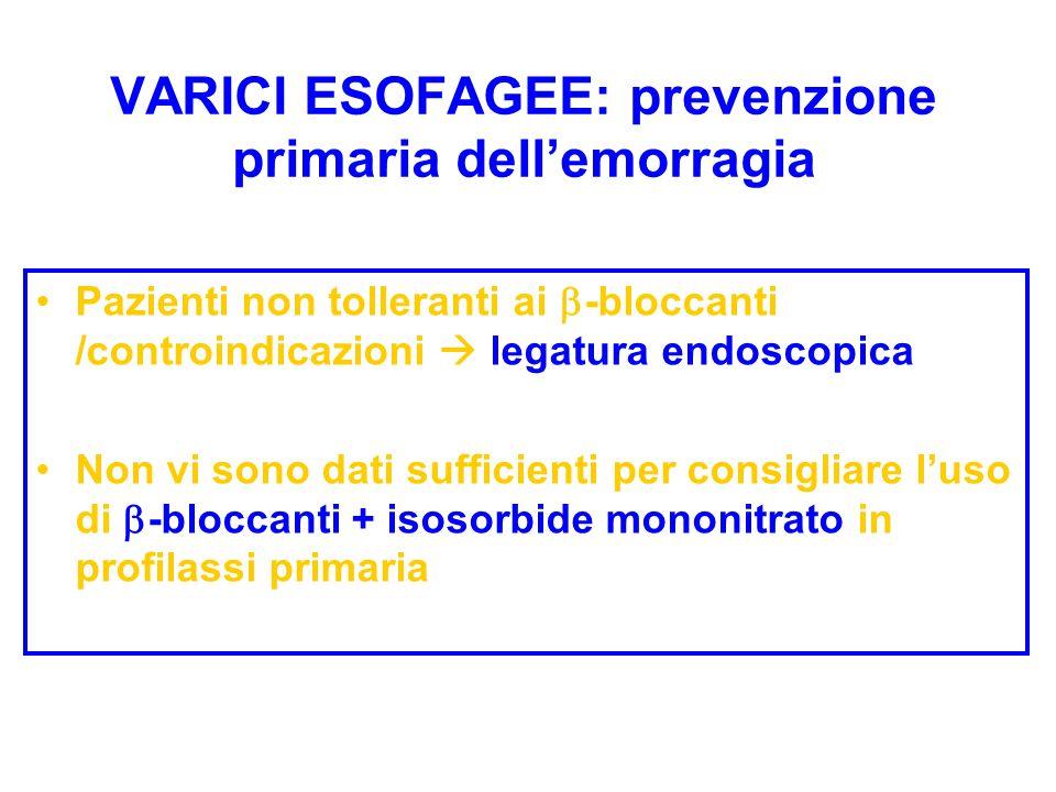 Pazienti non tolleranti ai -bloccanti /controindicazioni legatura endoscopica Non vi sono dati sufficienti per consigliare luso di -bloccanti + isosor
