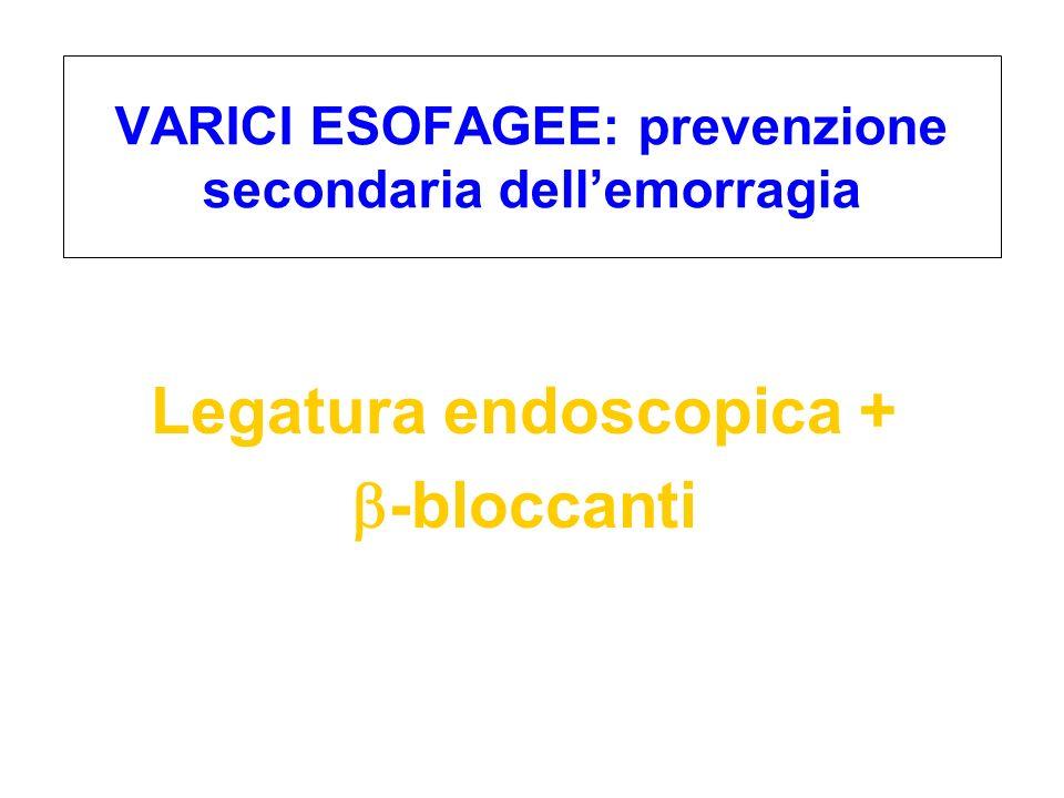 Legatura endoscopica + -bloccanti VARICI ESOFAGEE: prevenzione secondaria dellemorragia
