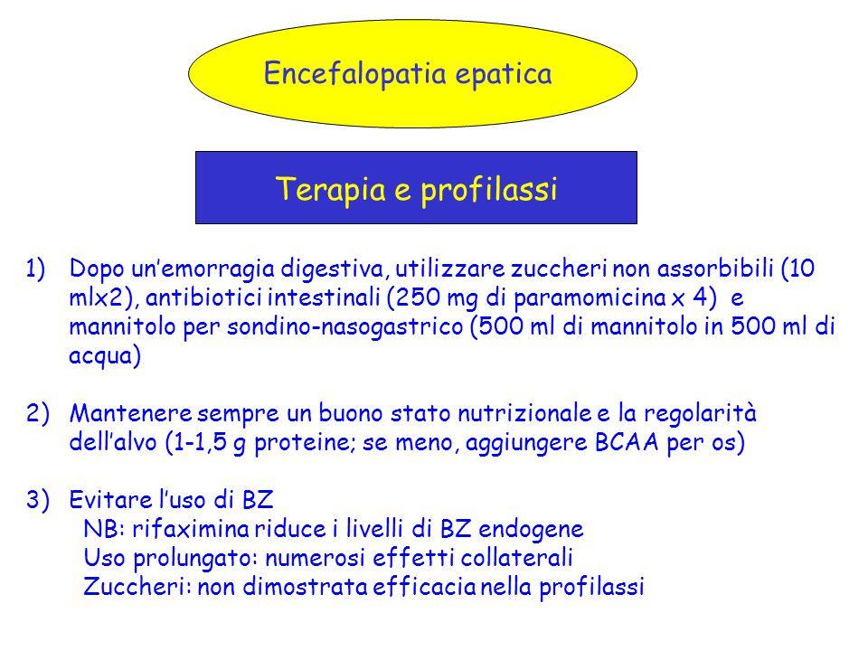 Encefalopatia epatica Terapia e profilassi 1)Dopo unemorragia digestiva, utilizzare zuccheri non assorbibili (10 mlx2), antibiotici intestinali (250 m