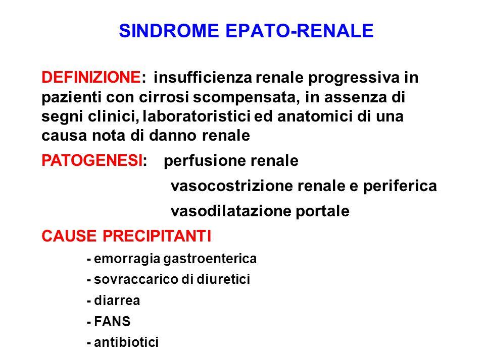 SINDROME EPATO-RENALE DEFINIZIONE: insufficienza renale progressiva in pazienti con cirrosi scompensata, in assenza di segni clinici, laboratoristici