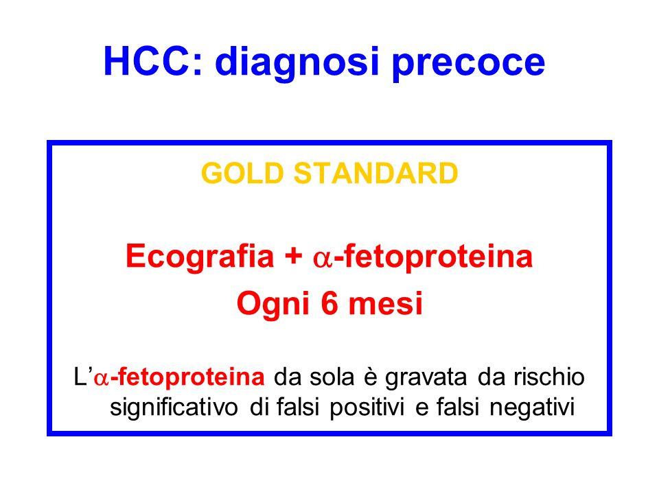 HCC: diagnosi precoce GOLD STANDARD Ecografia + -fetoproteina Ogni 6 mesi L -fetoproteina da sola è gravata da rischio significativo di falsi positivi