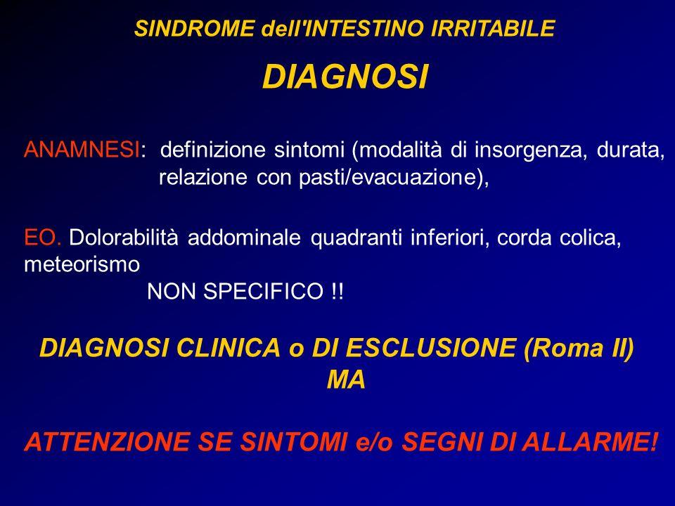 ANAMNESI: definizione sintomi (modalità di insorgenza, durata, relazione con pasti/evacuazione), EO. Dolorabilità addominale quadranti inferiori, cord