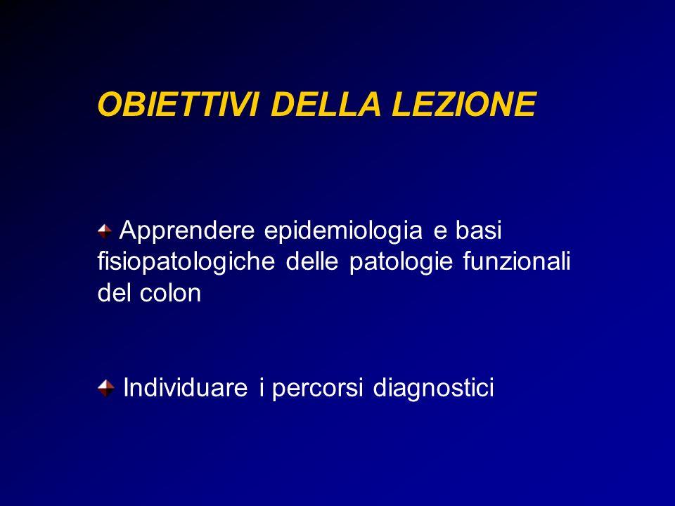 OBIETTIVI DELLA LEZIONE Apprendere epidemiologia e basi fisiopatologiche delle patologie funzionali del colon Individuare i percorsi diagnostici