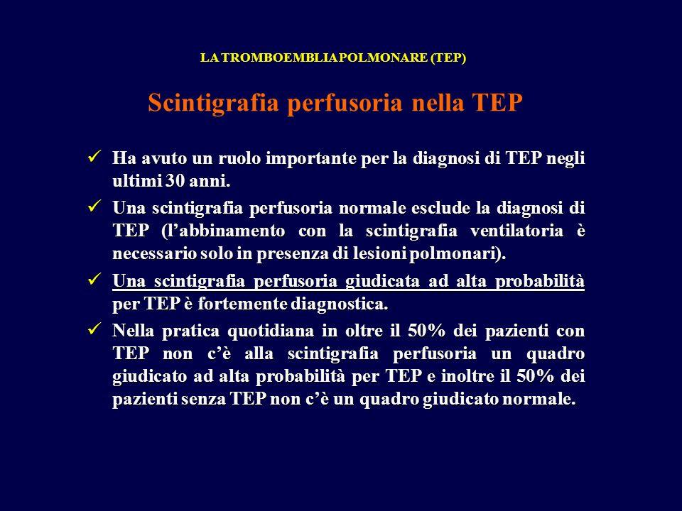 Ha avuto un ruolo importante per la diagnosi di TEP negli ultimi 30 anni. Ha avuto un ruolo importante per la diagnosi di TEP negli ultimi 30 anni. Un