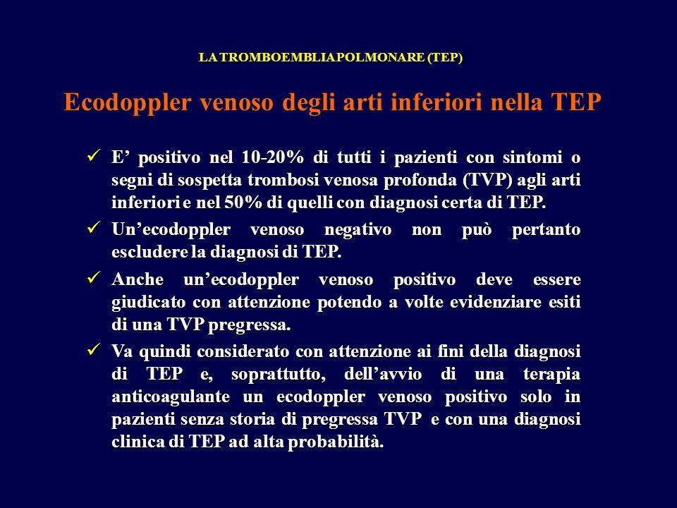E positivo nel 10-20% di tutti i pazienti con sintomi o segni di sospetta trombosi venosa profonda (TVP) agli arti inferiori e nel 50% di quelli con diagnosi certa di TEP.