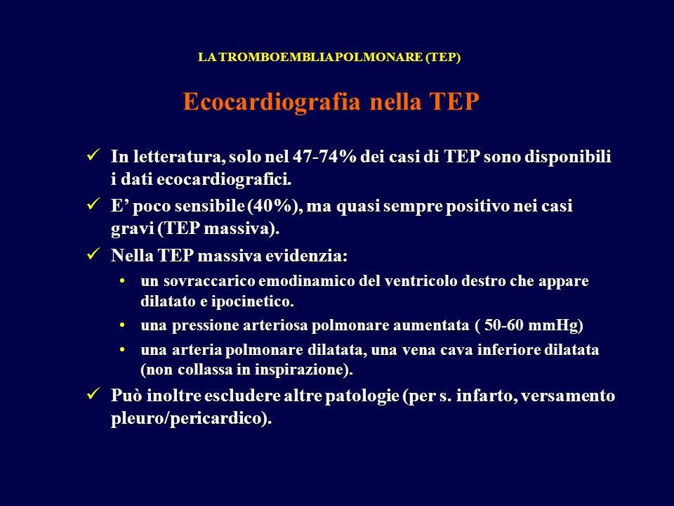 In letteratura, solo nel 47-74% dei casi di TEP sono disponibili i dati ecocardiografici.
