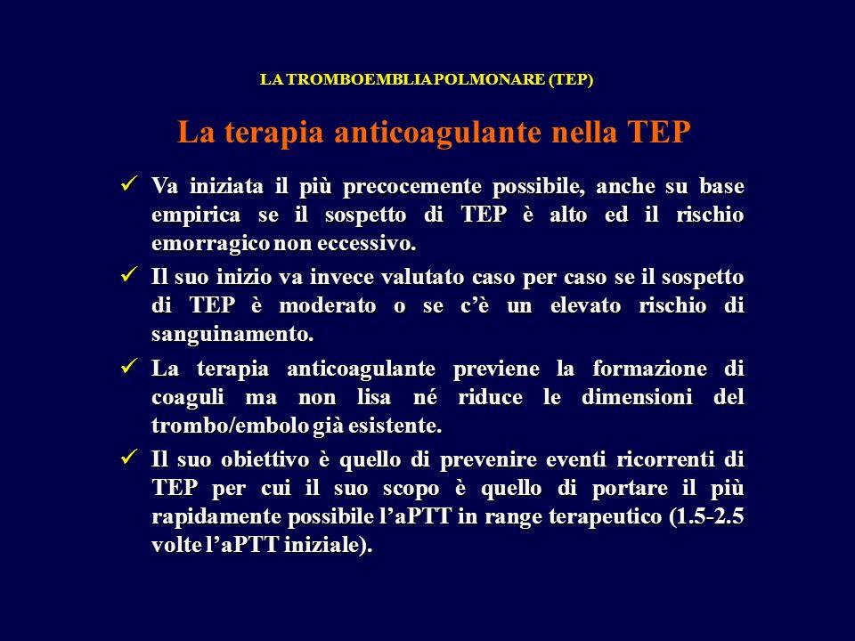 Va iniziata il più precocemente possibile, anche su base empirica se il sospetto di TEP è alto ed il rischio emorragico non eccessivo. Va iniziata il