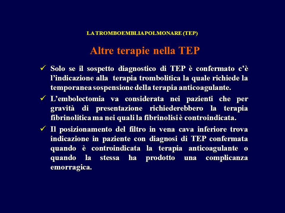 Solo se il sospetto diagnostico di TEP è confermato cè lindicazione alla terapia trombolitica la quale richiede la temporanea sospensione della terapia anticoagulante.