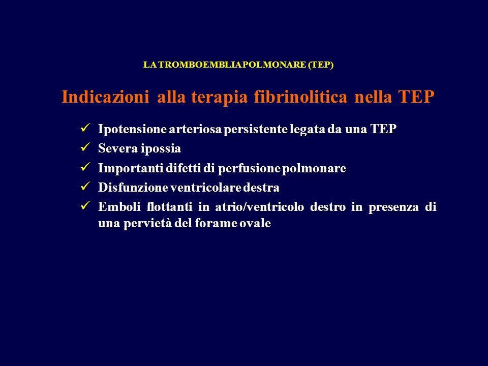Ipotensione arteriosa persistente legata da una TEP Ipotensione arteriosa persistente legata da una TEP Severa ipossia Severa ipossia Importanti difetti di perfusione polmonare Importanti difetti di perfusione polmonare Disfunzione ventricolare destra Disfunzione ventricolare destra Emboli flottanti in atrio/ventricolo destro in presenza di una pervietà del forame ovale Emboli flottanti in atrio/ventricolo destro in presenza di una pervietà del forame ovale LA TROMBOEMBLIA POLMONARE (TEP) Indicazioni alla terapia fibrinolitica nella TEP