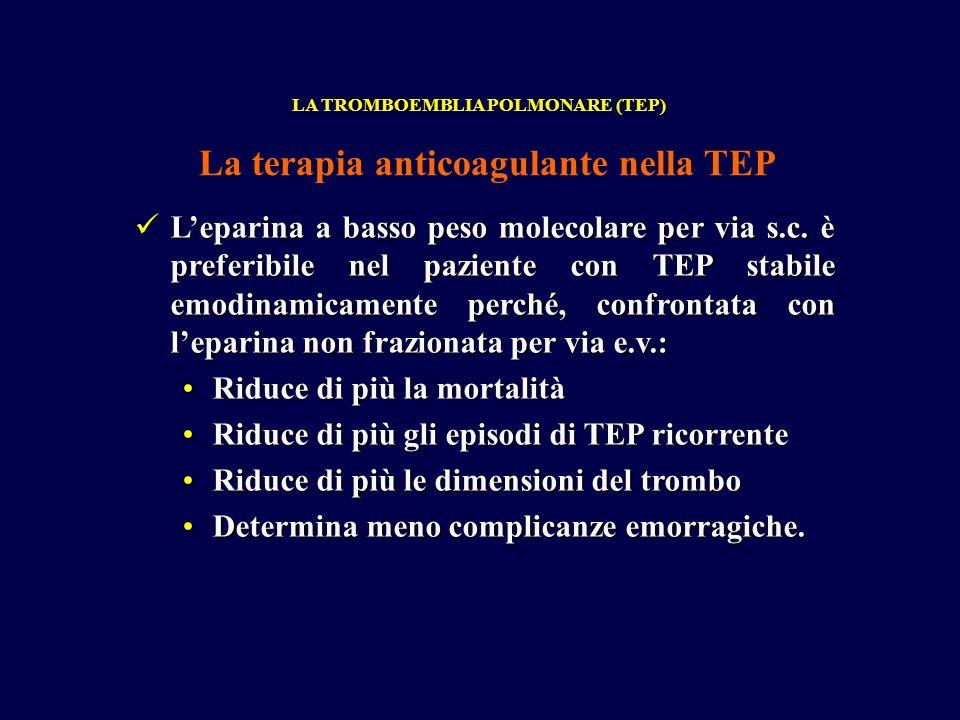 Leparina a basso peso molecolare per via s.c. è preferibile nel paziente con TEP stabile emodinamicamente perché, confrontata con leparina non frazion