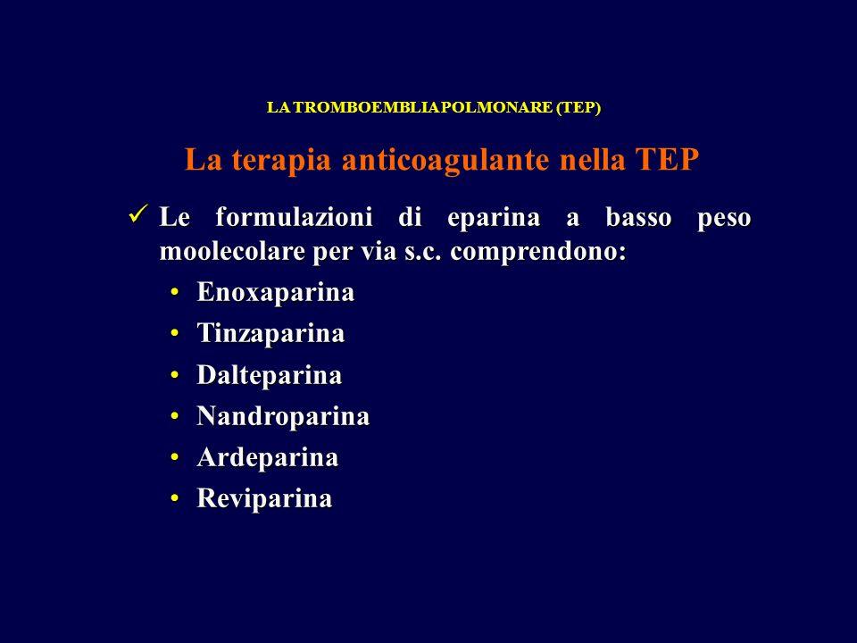 Le formulazioni di eparina a basso peso moolecolare per via s.c. comprendono: Le formulazioni di eparina a basso peso moolecolare per via s.c. compren