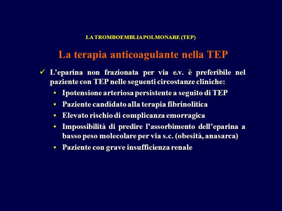 Leparina non frazionata per via e.v. è preferibile nel paziente con TEP nelle seguenti circostanze cliniche: Leparina non frazionata per via e.v. è pr