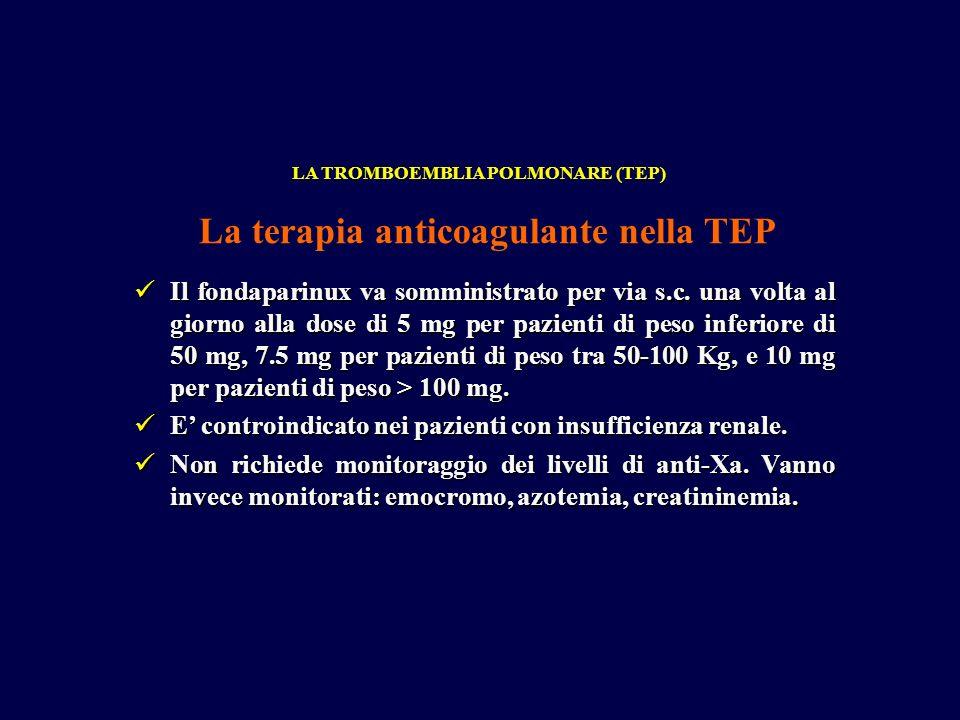 Il fondaparinux va somministrato per via s.c. una volta al giorno alla dose di 5 mg per pazienti di peso inferiore di 50 mg, 7.5 mg per pazienti di pe