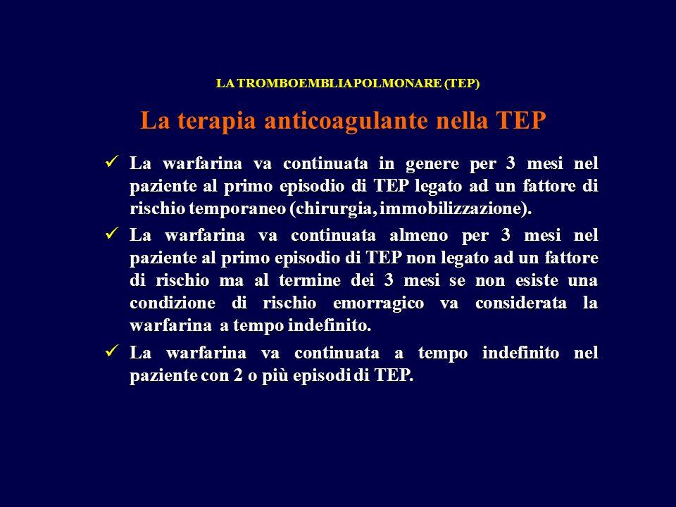 La warfarina va continuata in genere per 3 mesi nel paziente al primo episodio di TEP legato ad un fattore di rischio temporaneo (chirurgia, immobiliz