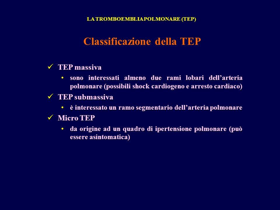 TEP massiva TEP massiva sono interessati almeno due rami lobari dellarteria polmonare (possibili shock cardiogeno e arresto cardiaco)sono interessati almeno due rami lobari dellarteria polmonare (possibili shock cardiogeno e arresto cardiaco) TEP submassiva TEP submassiva è interessato un ramo segmentario dellarteria polmonareè interessato un ramo segmentario dellarteria polmonare Micro TEP Micro TEP da origine ad un quadro di ipertensione polmonare (può essere asintomatica)da origine ad un quadro di ipertensione polmonare (può essere asintomatica) LA TROMBOEMBLIA POLMONARE (TEP) Classificazione della TEP