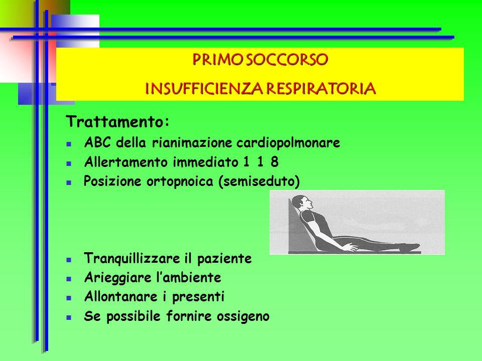 Sintomi: Difficoltà respiratoria a riposo Fame daria Segni : Cianosi (colorito bluastro) alle labbra Sudorazione Ipertensione o ipotensione arteriosa