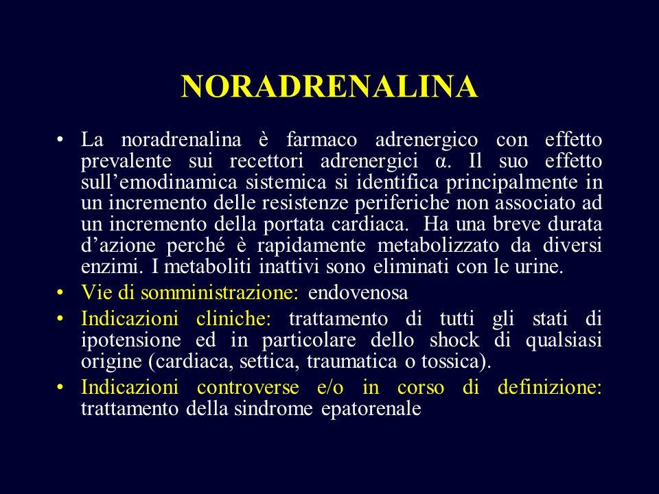 NORADRENALINA La noradrenalina è farmaco adrenergico con effetto prevalente sui recettori adrenergici α. Il suo effetto sullemodinamica sistemica si i