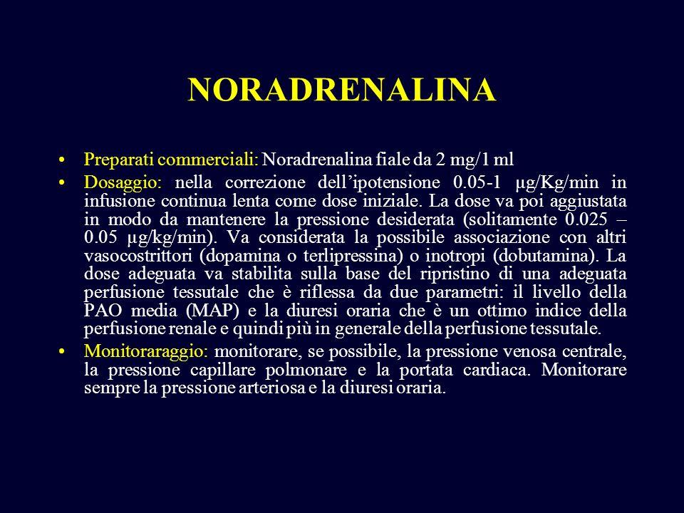 Preparati commerciali: Noradrenalina fiale da 2 mg/1 ml Dosaggio: nella correzione dellipotensione 0.05-1 µg/Kg/min in infusione continua lenta come d