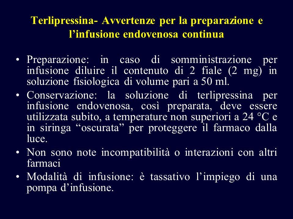 Terlipressina- Avvertenze per la preparazione e linfusione endovenosa continua Preparazione: in caso di somministrazione per infusione diluire il cont