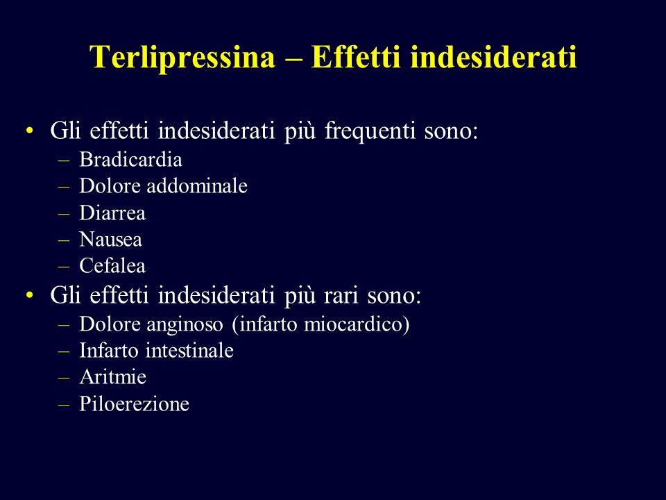 Terlipressina – Effetti indesiderati Gli effetti indesiderati più frequenti sono: –Bradicardia –Dolore addominale –Diarrea –Nausea –Cefalea Gli effett