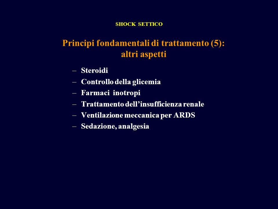 Principi fondamentali di trattamento (5): altri aspetti SHOCK SETTICO –Steroidi –Controllo della glicemia –Farmaci inotropi –Trattamento dellinsuffici