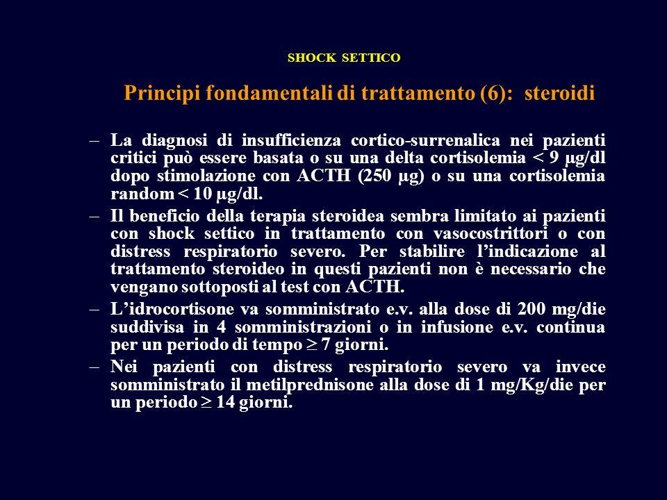 Principi fondamentali di trattamento (6): steroidi SHOCK SETTICO –La diagnosi di insufficienza cortico-surrenalica nei pazienti critici può essere bas