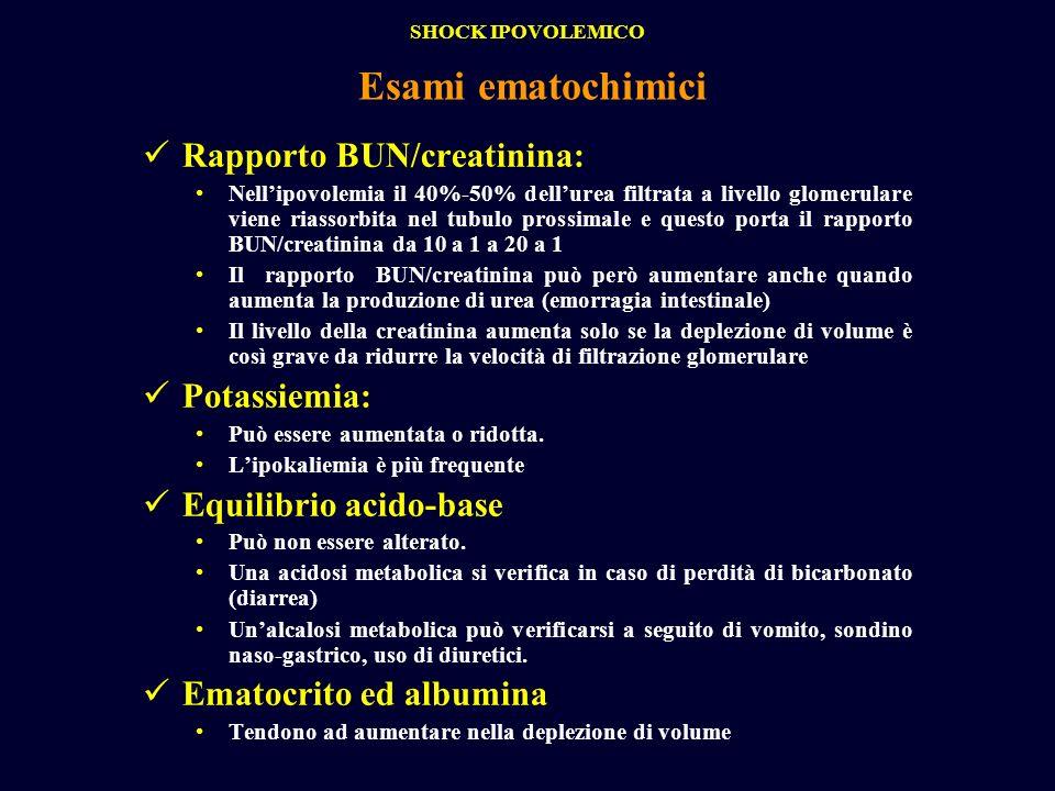 Rapporto BUN/creatinina: Nellipovolemia il 40%-50% dellurea filtrata a livello glomerulare viene riassorbita nel tubulo prossimale e questo porta il r