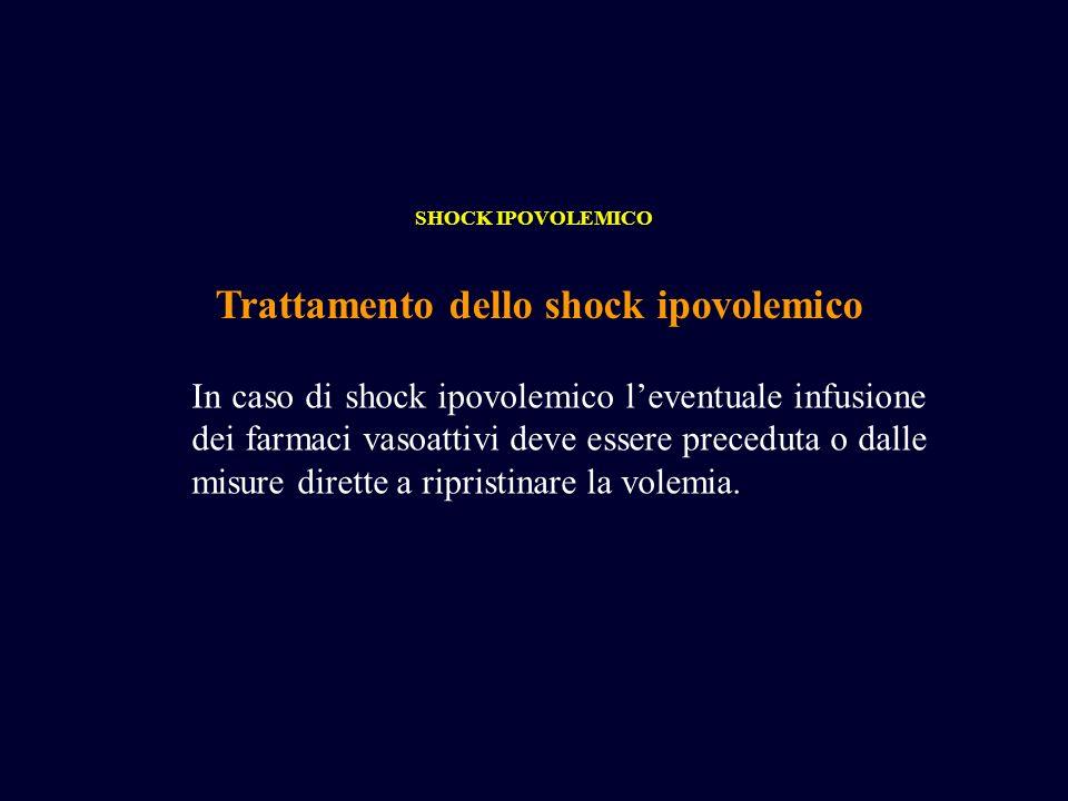 Trattamento dello shock ipovolemico SHOCK IPOVOLEMICO In caso di shock ipovolemico leventuale infusione dei farmaci vasoattivi deve essere preceduta o
