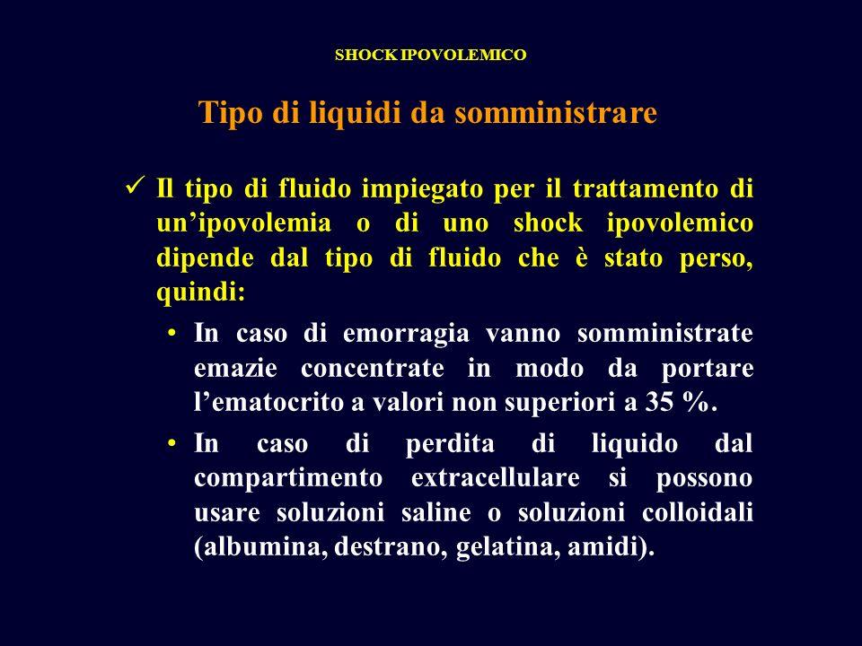 Il tipo di fluido impiegato per il trattamento di unipovolemia o di uno shock ipovolemico dipende dal tipo di fluido che è stato perso, quindi: In cas