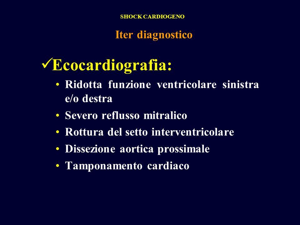 Ecocardiografia: Ridotta funzione ventricolare sinistra e/o destra Severo reflusso mitralico Rottura del setto interventricolare Dissezione aortica pr