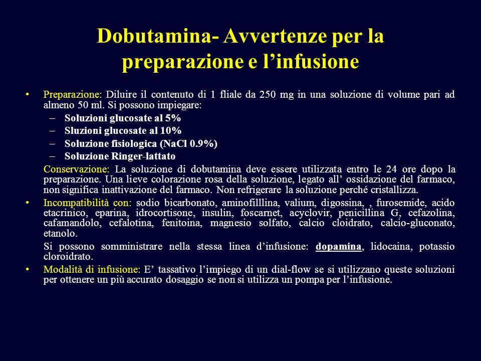 Dobutamina- Avvertenze per la preparazione e linfusione Preparazione: Diluire il contenuto di 1 fliale da 250 mg in una soluzione di volume pari ad al
