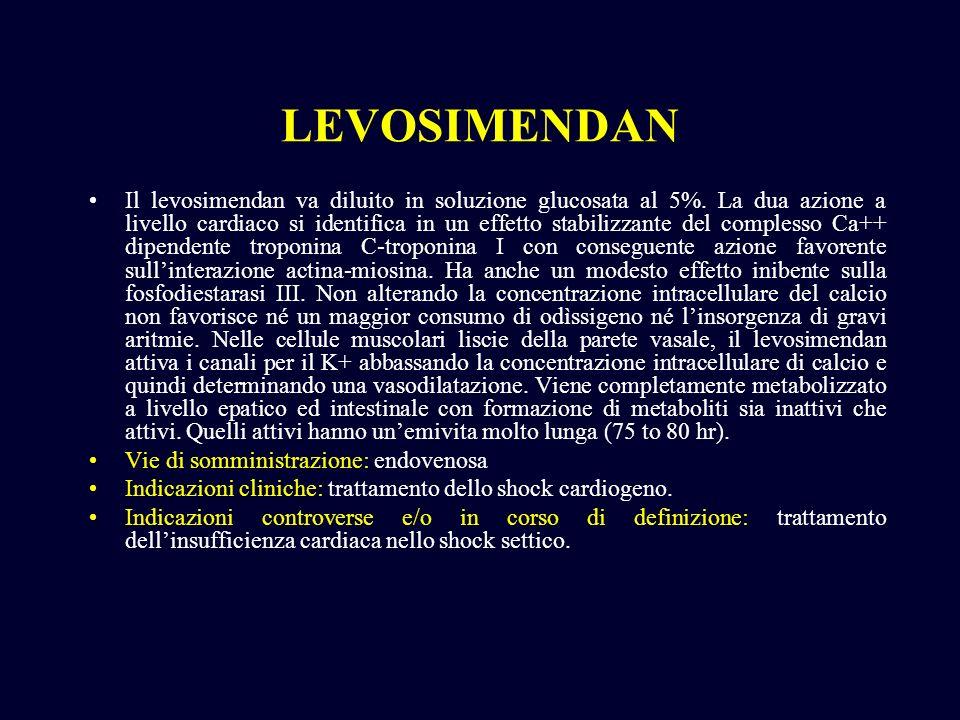 LEVOSIMENDAN Il levosimendan va diluito in soluzione glucosata al 5%. La dua azione a livello cardiaco si identifica in un effetto stabilizzante del c