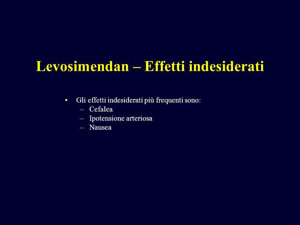 Levosimendan – Effetti indesiderati Gli effetti indesiderati più frequenti sono: –Cefalea –Ipotensione arteriosa –Nausea