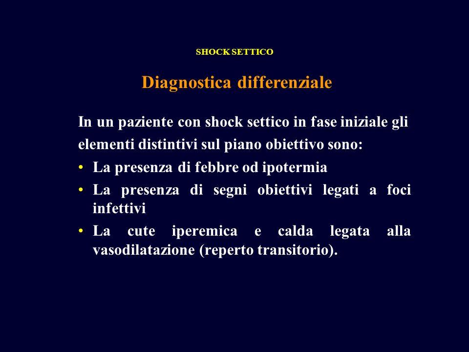In un paziente con shock settico in fase iniziale gli elementi distintivi sul piano obiettivo sono: La presenza di febbre od ipotermia La presenza di