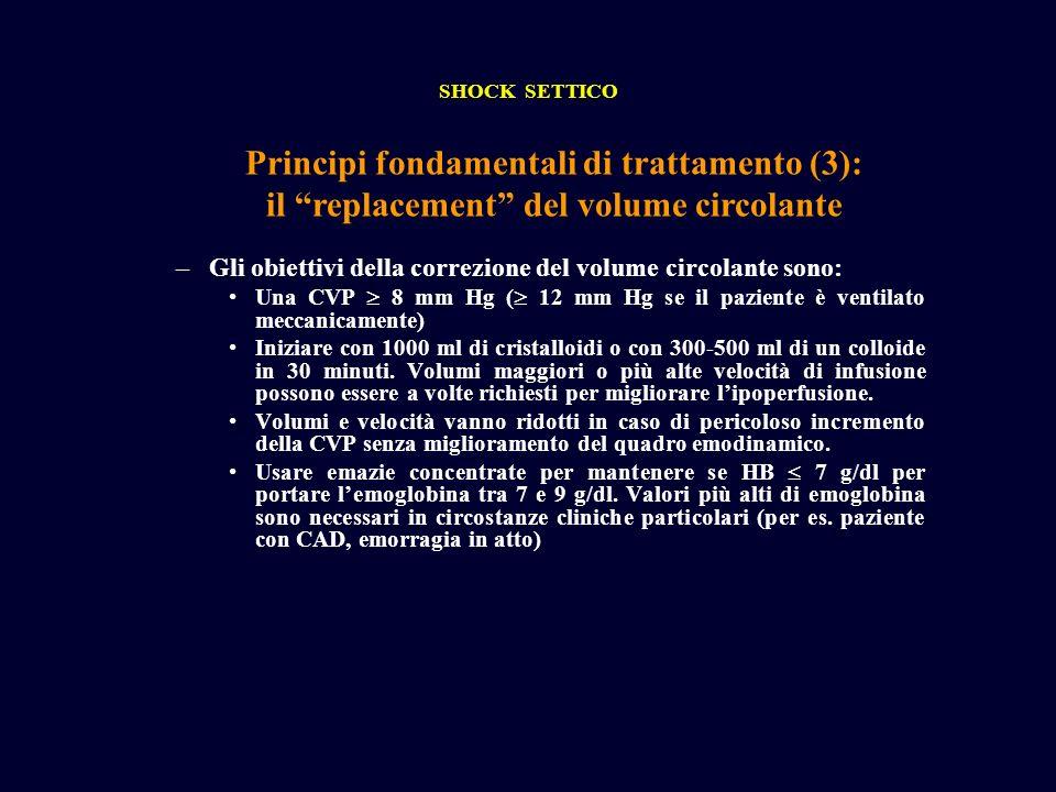 Principi fondamentali di trattamento (3): il replacement del volume circolante SHOCK SETTICO –Gli obiettivi della correzione del volume circolante son
