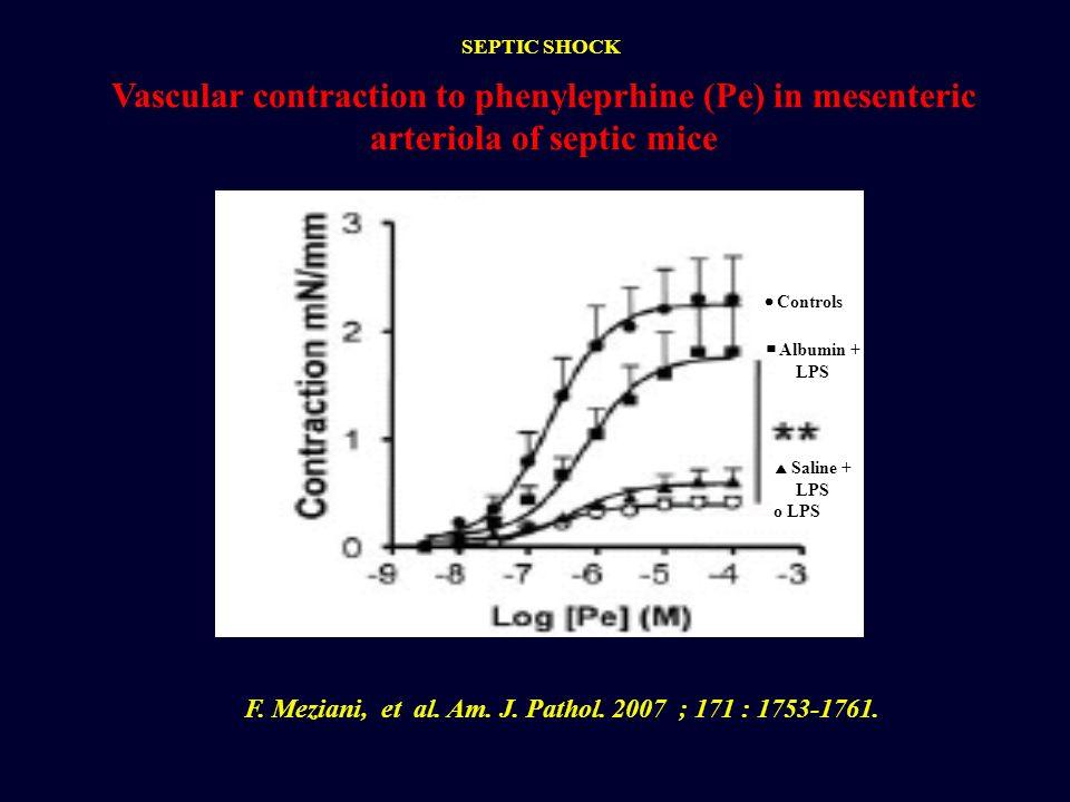 Controls Albumin + LPS Saline + LPS o LPS Vascular contraction to phenyleprhine (Pe) in mesenteric arteriola of septic mice F. Meziani, et al. Am. J.