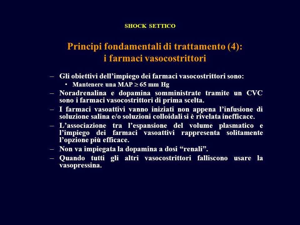 Principi fondamentali di trattamento (4): i farmaci vasocostrittori SHOCK SETTICO –Gli obiettivi dellimpiego dei farmaci vasocostrittori sono: Mantene