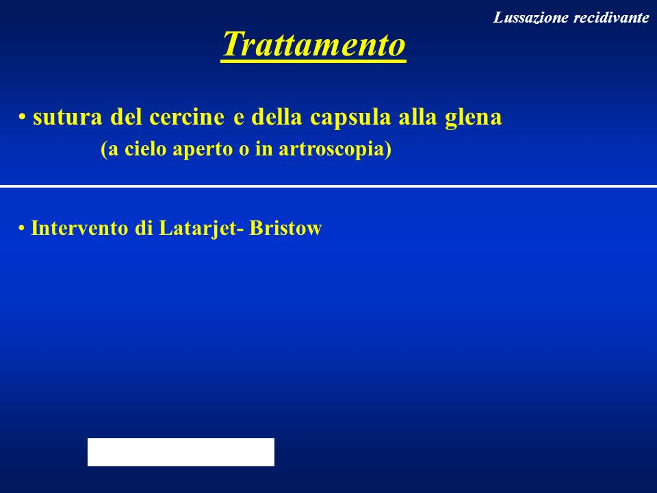 Trattamento sutura del cercine e della capsula alla glena (a cielo aperto o in artroscopia) Intervento di Latarjet- Bristow Lussazione recidivante