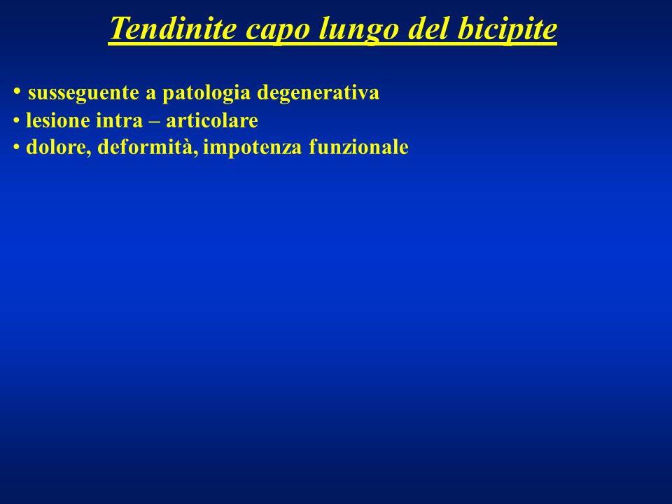 Tendinite capo lungo del bicipite susseguente a patologia degenerativa lesione intra – articolare dolore, deformità, impotenza funzionale
