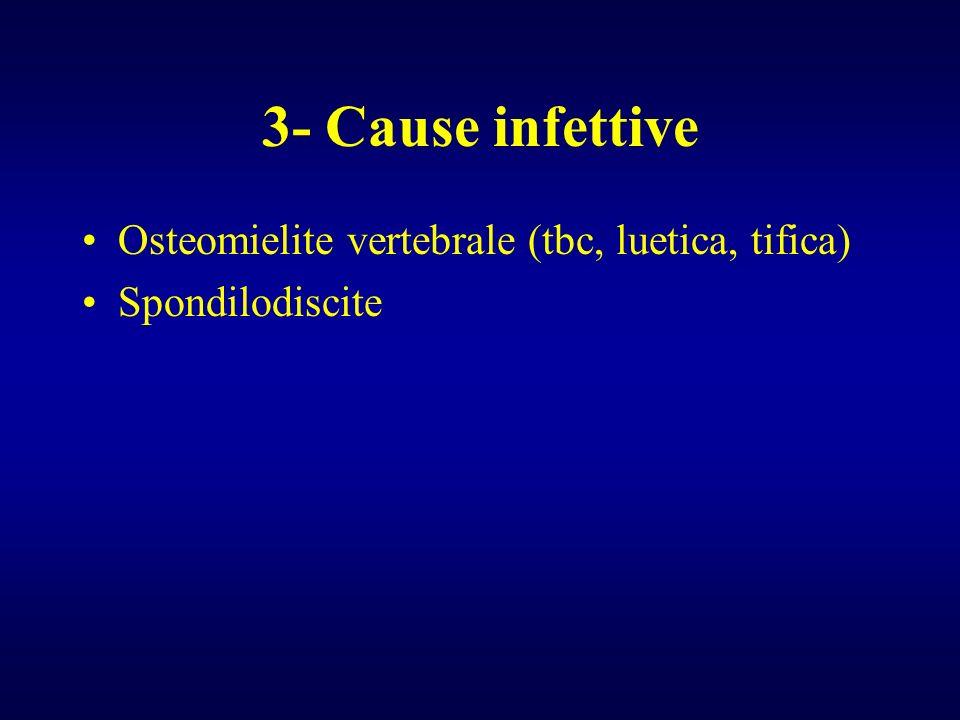 3- Cause infettive Osteomielite vertebrale (tbc, luetica, tifica) Spondilodiscite