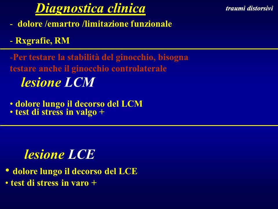 lesione LCM dolore lungo il decorso del LCM test di stress in valgo + lesione LCE dolore lungo il decorso del LCE test di stress in varo + traumi dist